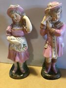 Vintage Coventry Ware Chalkware 2 Couple Girl's Figurine
