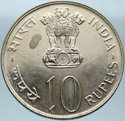 1973 India Fao - Grow More Food Wheat Lions Genuine Silver 10 Rupee Coin I82763