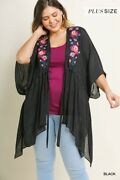 Umgee Womenand039s Sheer Floral Embroidered Open Front Cardigan Various Sizes
