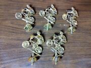 Vintage Gold Plastic Bmx Trophy Toppers Bicycle Race Lot Of 5