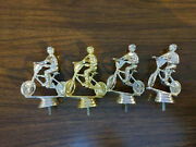 Vintage Lot Of 4 Silver And Gold Bmx Plastic Trophy Toppers - Bicycle Race
