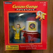 Vintage Curious George Animated Spaceship Bubble Gum Coin Bank 1999 New