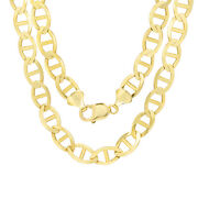 10k Yellow Gold Solid Mens 10.5mm Mariner Anchor Chain Necklace 22- 30