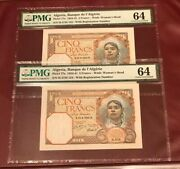 Algeria Bank D'algerie Running Pair 5 Francs 1940 Pmg 64 Unc Pick 77a With Sn