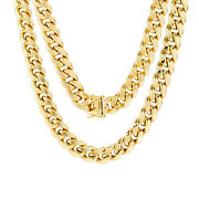 10k Yellow Gold Mens 11mm Real Miami Cuban Link Chain Necklace Box Clasp 22-30