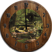 Large Wall Clock Stream Flowing Over Rocks And Stones River From Trees Bar Sign
