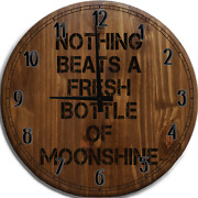 Large Wall Clock Nothing Beats Fresh Bottle Of Moonshine Drinking Home Distill