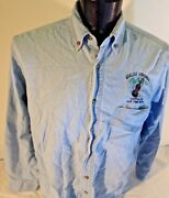 Galax Virginia Capital Old Time Music Fiddle Large Denim Shirt Button Front Blue