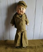 Vintage Ideal Composition Wwii Boy Doll Army Soldier 15 Cloth Wood Toy 1942