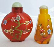 2 Chinese Glass Snuff Bottles With Enameled Flowering Prunus Branches And Jade Top