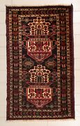 Handmade Beluch Wool And Cotton Carpet 76and039and039 X 45and039and039 194x115 Cm
