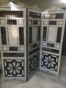 Wood Room Divider Screen Inlaid Mother Of Pearl With Hand Work Arabesque