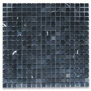 N22xp Nero Marquina Black Marble 5/8x5/8 Square Mosaic Tile Polished Wall Floor