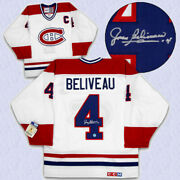 Jean Beliveau Montreal Canadiens Signed White Ccm Vintage Hockey Jersey