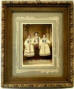 1900and039s Hand Colored Ethnic Costume Family Photo Framers Tag Newport Ky