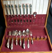 1847 Roger Bros Silver-plate First Love W/ Box 8 Place Setting 52 Pieces
