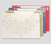 50/100x Floral Lace Laser Cut Printing Wedding Favors Brithday Invitations Cards