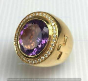 6 Ct Round Cut Amethyst Diamond Engagement Men's Pinky Ring 14k Yellow Gold Over