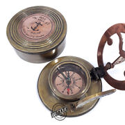Solid Brass Handmade Nautical Marine Compasses With Sundial Vintage Antique Styl