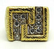 18k Yellow Gold 1.25 Ctw Diamond Menand039s Textured Band Size 11.5 / 14.3 Grams