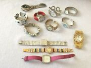 Lot Of 12 Costume Jewelry Womenand039s Wrist Bands -estate Find
