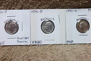 1990-p Mint State / 1990-d Very Fine /1990-s Proof Roosevelt Dimes