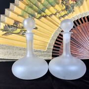 Vintage Blown Glass Liquor Decanters Fluted Frosted Elegant Nice