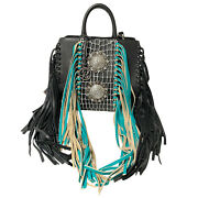 Raviani New Fringe Satchel In Black Pebble And Turquoise Leather W/crystal Concho