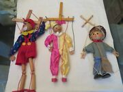 Lot Of 3 Handmade Hand Painted Wood Puppet String Marionettes Clowns J Appleseed