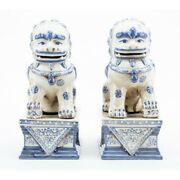 Staffordshire Reproduction Blue And White Lucky Foo Dog Statues, 9 Inch Set Of 2
