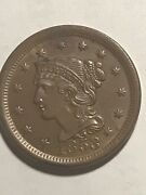 1853 Braided Hair Large Cent Coin 1c Unc This Is A Great Looking Old Coin