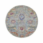 6and039x6and039 Round Sickle Leaf Design Silk With Textured Wool Oriental Rug G48913