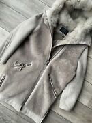 All Saints Womenand039s Grey State Lux Shearling Coat Jacket - Small - New And Tags