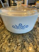 1970andrsquos Rare Discontinued Blue Corn Flower Corning Ware 5 Qt Covered Casserole