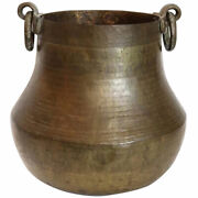 Antique South Indian Hammered Brass Ring Handle Planter Pot 19th Century