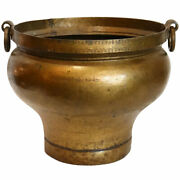 Antique South Indian Brass Ring Handle Water Storage Pot / Planter 19th Century