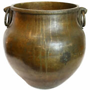 Large Antique South Indian Brass Ring Handle Water Storage Pot / Planter 19th Ce