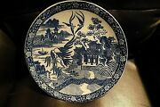 Large Asian Blue White Charger Plate Phoenix Imari Japan China 12 1/4 As Is