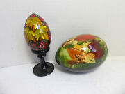 Two Vintage Russian / Ukraine Black Lacquered Wood Handpainted Easter Eggs