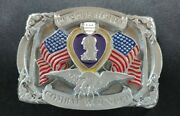 Purple Heart Combat Wounded Medal Military Veteran Belt Buckle Made In Usa 1997