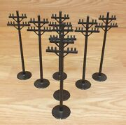Vintage Lot Of 7 Plastic Brown Power Line Posts Accessories For Train Set Read