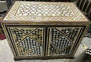 Vintage Wood Jewelry Box Handmade Inlaid Mother Of Pearl Tortoise Back