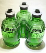 Rare Early Antique Green Barrel Glass Decanters Bottles With Rye And Gin Tags