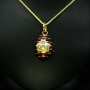 Faberge Egg Pendant Necklace Gold Gilt Crown Sterling 18 Chain Box