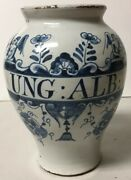 Antique 18th Century Hand Painted Faience Apothecary Medicine Jar Ung Alb