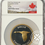 2017 Ngc Pf 69 1 5 Oz Proof Canadian Goose Gilt Silver Canada`s 150 Anniv Coin