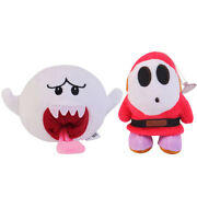 Super Mario Bros White Boo Ghost And Shy Guy Plush Doll Toy -2pcs