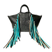Raviani Satchel In Black Pebble And Black/white Cowhide Leather And Two Tone Fringe