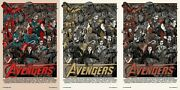 The Avengers - Age Of Ultron By Tyler Stout - Set Of 3 Prints - Rare Not Mondo