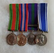 X4 Miniature Medals Ww2 Defence, End Of War, Palestine Service, Police Exemplary